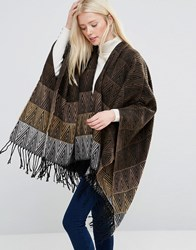 Brave Soul Cape With Printed Hem Charcoal Grey