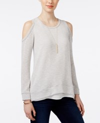 Bar Iii Heathered Cold Shoulder Snit Top Only At Macy's Light Grey
