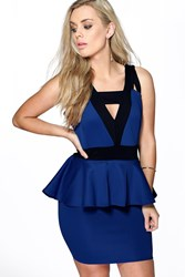 Boohoo Stacey Contrast Panel Peplum Dress Cobalt