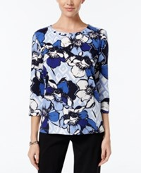Alfred Dunner Floral Print Beaded Neck Top Multi