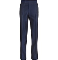 Kingsman Navy Slim Fit Wool And Mohair Blend Tuxedo Trousers Blue