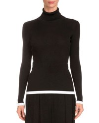Givenchy Tipped Rib Knit Turtleneck Sweater Burgundy
