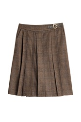 Salvatore Ferragamo Pleated Skirt Brown