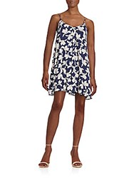 Saks Fifth Avenue Red Floral Print Slip Dress Navy