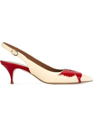 Red Valentino Bird Motif Sling Back Pumps Nude And Neutrals