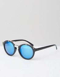 Jeepers Peepers Round Sunglasses In Black With Brow Bar And Mirror Lens Black Blue Revo