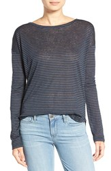 Paige Women's 'Bess' Stripe Linen Tee Midnight Navy Black Stripe