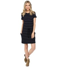 Culture Phit Eve Short Sleeve Sweater Dress With Drawstring Navy White Women's Dress Blue