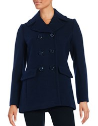 Kate Spade Wool Blend Double Breasted Peacoat Deep Navy