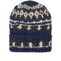 Chamula Double Cuff Fair Isle Hat Blue