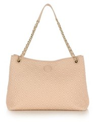 Tory Burch Marion Quilted Center Zip Leather Tote Pale Apricot