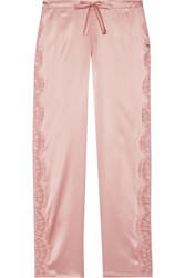I.D. Sarrieri Chantilly Lace Paneled Silk Blend Satin Pajama Pants Blush