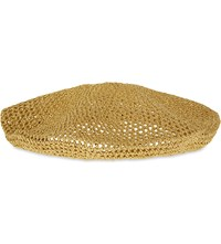 Gucci Thelma Knitted Lurex Beret Gold