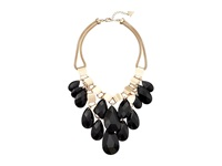 Guess Faceted Teardrop Bead Drop Bib Necklace Gold Jet Necklace Black