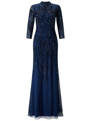 Adrianna Papell Mock Turtleneck Beaded Gown Deep Blue