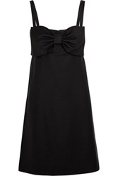 Boutique Moschino Bow Embellished Wool Mini Dress Black