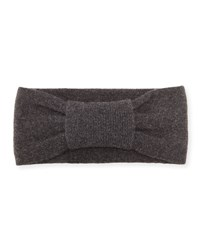 Portolano Cashmere Knotted Headband Heather Charcoal