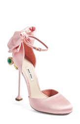 Miu Miu Women's Crystal Bow Tie Ankle Strap Pump