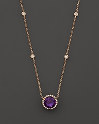 Bloomingdale's Amethyst And Diamond Halo Pendant Necklace With 4 Stations In 14K Rose Gold 16 Purple Rose
