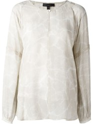 Belstaff Sheer Printed Blouse Nude And Neutrals