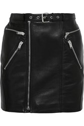 Saint Laurent Buckled Textured Leather Mini Skirt Black