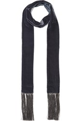 Aerin Fringed Velvet Scarf Midnight Blue