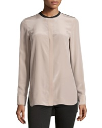 Vince Silk Colorblock Blouse Sesame Black