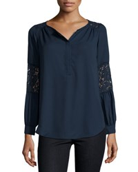 Neiman Marcus Lace Inset Peasant Tunic Navy