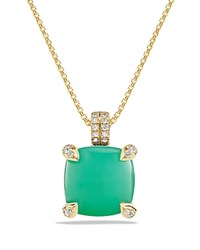 David Yurman Chatelaine Pendant Necklace With Chrysoprase And Diamonds In 18K Gold Green Gold