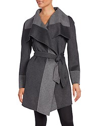 Diane Von Furstenberg Colorblock Shawl Collar Coat Charcoal