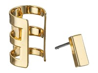 French Connection Rectangle Bar Single Earrings Cuff Set Gold Earring
