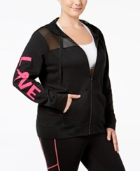 Material Girl Plus Size Pink Ribbon Mesh Trim Hoodie Only At Macy's Noir