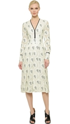 Yigal Azrouel Pintuck Palm Leaves Dress Optic Multi