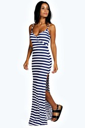 Boohoo Stripe Wrap Front Maxi Dress Navy
