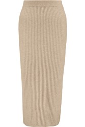 Iris And Ink Ribbed Cashmere Midi Skirt Nude