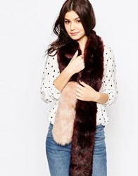 Urbancode Color Block Faux Fur Skinny Scarf Oxbloodblush