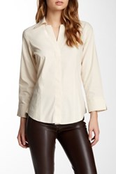Foxcroft Long Sleeve Solid Fitted Blouse Ecru