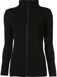 Cedric Charlier Ribbed Zip Up Cardigan Black