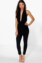 Boohoo Halter Neck Deep Plunge Jumpsuit Black