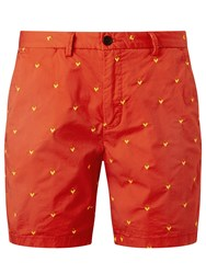 Scotch And Soda All Over Embroidered Shorts Cherry Red
