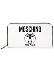 Moschino Double Question Mark Print Wallet White