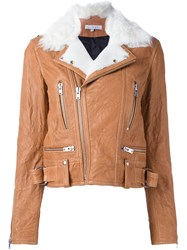 Iro Shearling Biker Jacket Nude And Neutrals
