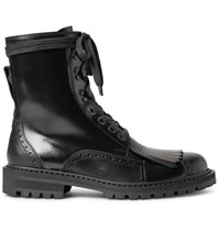 Dries Van Noten Polished Leather Kiltie Brogue Boots Black