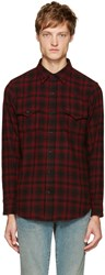 Saint Laurent Black And Red Plaid Shirt