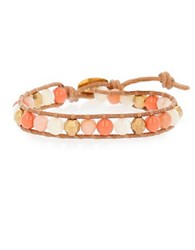 Chan Luu Red Aventurine And Mother Of Pearl Beaded Wrap Bracelet Coral
