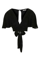Pleated Kimono Sleeve Top By Love Black