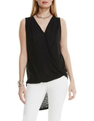 Vince Camuto High Low Front Twist Wrap Tank Black