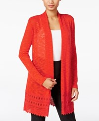 Jm Collection Lace Trim Duster Cardigan Only At Macy's Hot Red