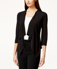 Connected Three Quarter Sleeve Ruffle Jacket Black