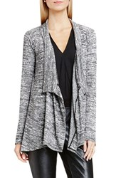 Vince Camuto Women's Two By Marled Rib Knit Drape Front Cardigan
